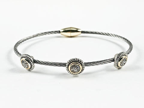 Modern Thin Wire Band With Triple Round Halo CZ Disc Design Two Tone Magnetic Brass Bracelet