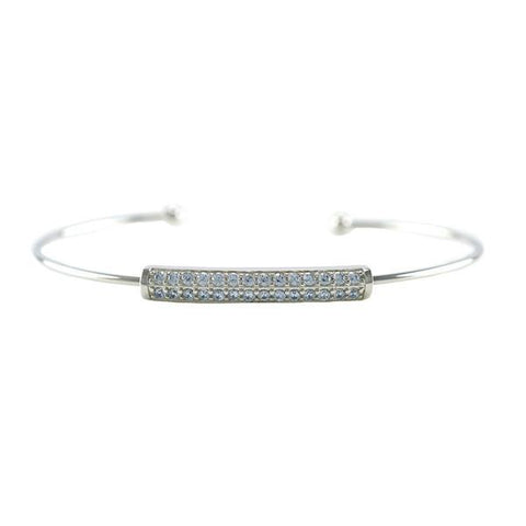 Classic Dainty Thin CZ Bar Delicate Cuff Brass Bangle