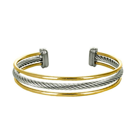 Modern Elegant Wire Texture Multi Level 2 Tone Style Brass Cuff Bangle