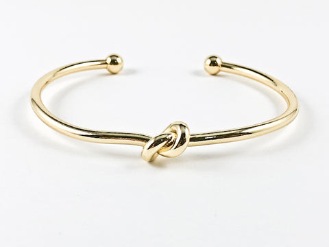 Modern Cute Knot Twist Gold Tone Brass Cuff Bangle
