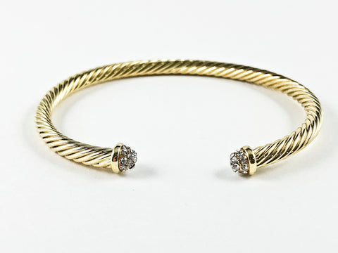 Modern Textured Duo Crystals Gold Tone Brass Cuff Bangle
