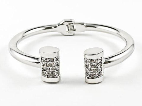 Nice Duo Vertical Rectangular Shape With Crystal Hinge Back Fashion Bangle