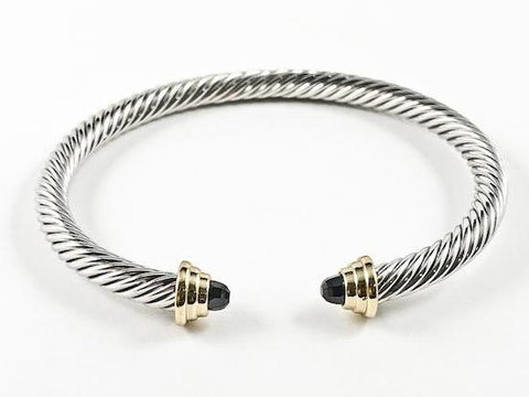 Modern Texture Wire Black Crystal Duo Ends Style 2 Tone Brass Cuff Bangle