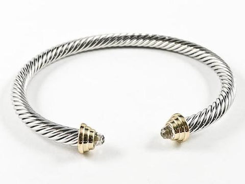 Modern Texture Wire Crystal Duo Ends Style 2 Tone Brass Cuff Bangle