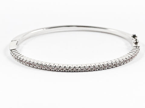 Elegant Thin Delicate One Row CZ Brass Bangle