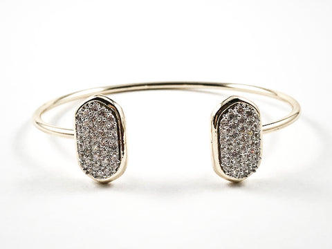 Unique Duo Oval Shape Micro Setting CZ Thin Gold Tone Brass Cuff Bangle