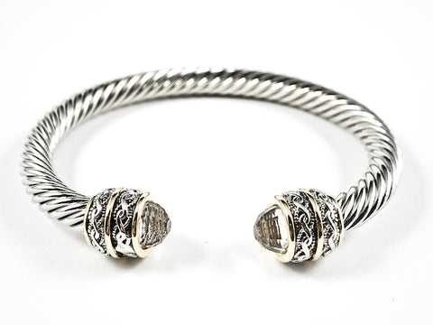 Nice Wire Texture Duo Filigree Style Clear CZ Ends Brass Bangle