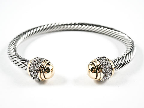Nice Wire Texture Duo Gold Tone Cap Ends With Clear CZ Design Brass Bangles