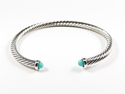 Modern Thin Cable Wire Texture With Dainty Turquoise Crystal Duo Ends Brass Cuff Bangle