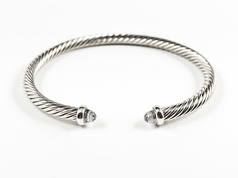 Modern Thin Cable Wire Texture With Dainty Crystal Duo Ends Brass Cuff Bangle