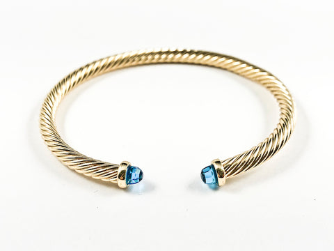 Modern Thin Cable Wire Texture With Dainty Blue Crystal Duo Ends Gold Tone Brass Cuff Bangle
