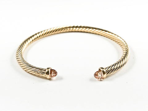 Modern Thin Cable Wire Texture With Dainty Champagne Crystal Duo Ends Gold Tone Brass Cuff Bangle