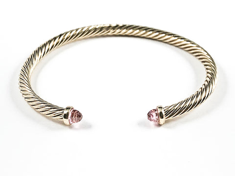 Modern Thin Cable Wire Texture With Dainty Pink Crystal Duo Ends Gold Tone Brass Cuff Bangle