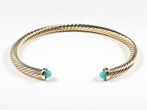 Modern Thin Cable Wire Texture With Dainty Turquoise Crystal Duo Ends Gold Tone Brass Cuff Bangle