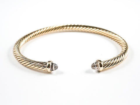 Modern Thin Cable Wire Texture With Dainty Crystal Duo Ends Gold Tone Brass Cuff Bangle