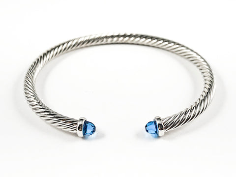 Modern Thin Cable Wire Texture With Dainty Blue Crystal Duo Ends Brass Cuff Bangle