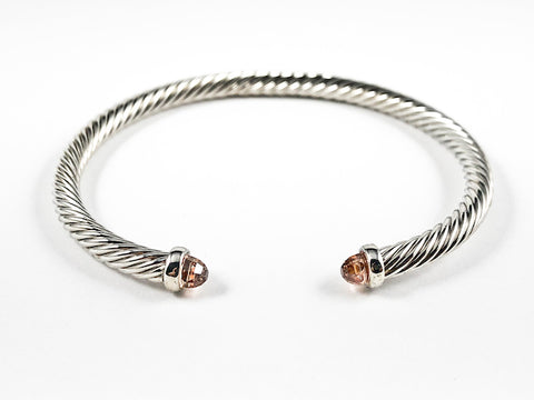 Modern Thin Cable Wire Texture With Dainty Champagne Crystal Duo Ends Brass Cuff Bangle