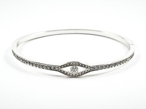 Elegant Center Eye Design CZ Brass Bracelet