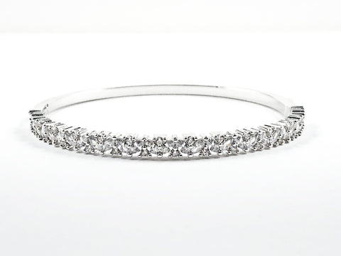 Classic Elegant Thick Single Row CZ Brass Bracelet Bangle