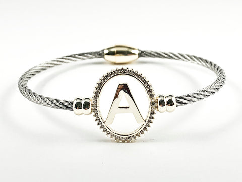 Modern Oval Shape A Initial Two Tone Style Wire Texture Magnetic Clasp Brass Bracelet Bangle