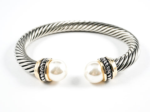 Modern Thick Cable Wire Style Large Round Pearl Duo Ends 2 Tone Brass Cuff Bangle