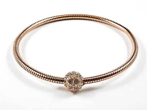 Nice Snake Texture Band With Center Crystal Ball Pink Gold Tone Fashion Bangle