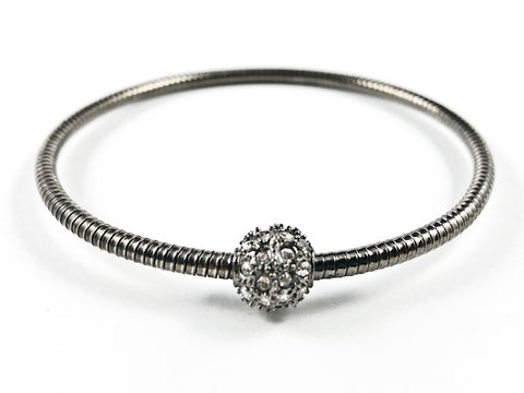 Nice Snake Texture Band With Center Crystal Ball Black Rhodium Tone Fashion Bangle