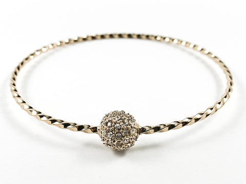Elegant Textured Thin Shiny Metallic Band With Center Micro Setting Crystal Ball Gold Tone Fashion Bangle