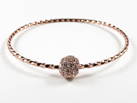 Elegant Textured Thin Shiny Metallic Band With Center Micro Setting Crystal Ball Pink Gold Tone Fashion Bangle