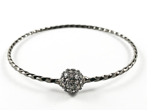 Elegant Textured Thin Shiny Metallic Band With Center Micro Setting Crystal Ball Black Rhodium Tone Fashion Bangle