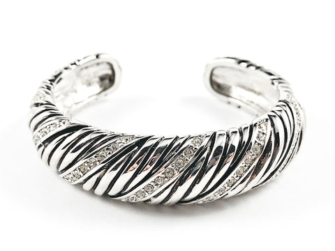 Nice Thick Textured Striped Pattern With CZ Silver Tone Cuff Brass Bangle