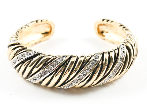 Nice Thick Textured Striped Pattern With CZ Gold Tone Cuff Brass Bangle