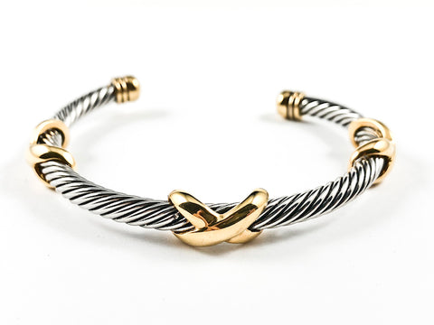 Unique Textured Wire Band With Multi Gold Tone X Mark Brass Bangle