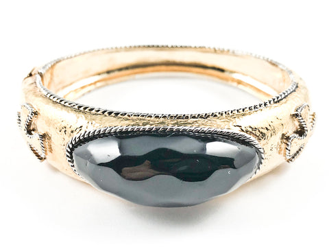 Vintage Style Center Elevated Oval Shape Black Color Stone Gold Tone Fashion Bracelet Bangle