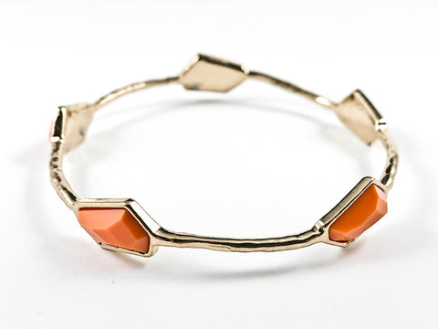 Unique Geometric Orange Crystal Shape Gold Tone Fashion Bracelet Bangle