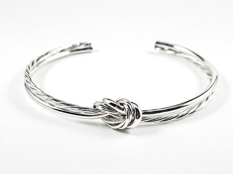 Modern Shiny Metallic & Rope Textured Center Knot Design Brass Cuff Bangle