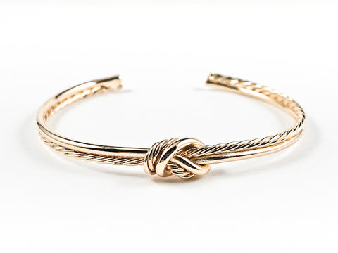 Modern Shiny Metallic & Rope Textured Center Knot Design Gold Tone Brass Cuff Bangle