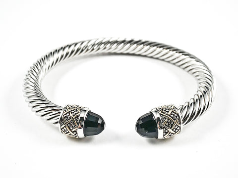 Modern Thick Textured Cable Wire Band Large Duo Black Color Crystals Cuff Brass Bangle