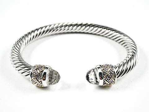 Modern Thick Textured Cable Wire Band Large Duo Clear Color Crystals Cuff Brass Bangle
