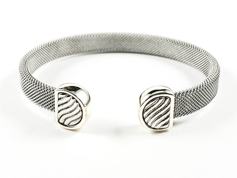 Modern Thick Mesh Textured Band Design Duo Wave Ends Design Two Tone Style Brass Cuff Bangle