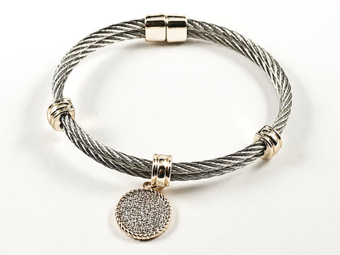 Modern Double Wire Band With Pave CZ Circle Disc Dangle Charm Two Tone Brass Bangle