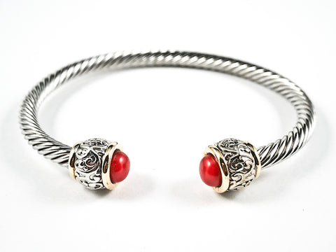 Beautiful Cable Wire Band Design Red Coral  Duo Stone Ends Brass Cuff Bangle