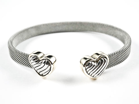 Modern Thick Mesh Textured Band Design Duo Heart With Wave Ends Design Two Tone Style Brass Cuff Bangle