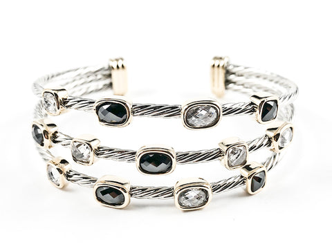 Modern Cable Wire Design Open Multi Row Clear & Black CZ Two Tone Brass Bangle