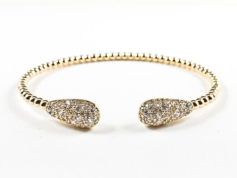 Beautiful Ball Beads Band With Pear Shape Micro CZ Duo Ends Gold Tone Brass Bangle