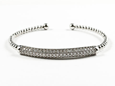 Elegant Ball Beads Band With Center Micro Setting CZ Long Bar Silver Tone Brass Bangle