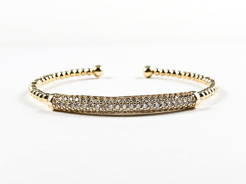 Elegant Ball Beads Band With Center Micro Setting CZ Long Bar Gold Tone Brass Bangle