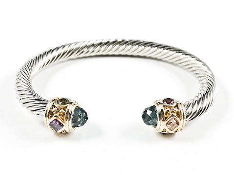 Beautiful Wire Band Texture With Multi Color Duo Ends Style Brass Bangle