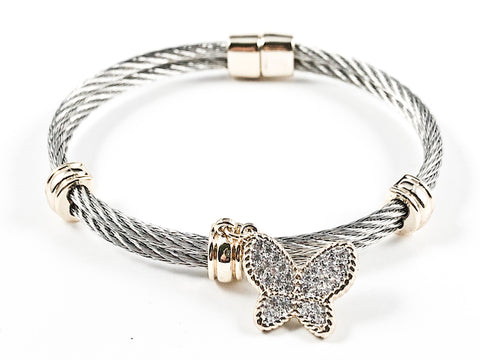 Beautiful Two Row Cable Wire Texture Band With Gold Tone Dangle Butterfly Charm Brass Bangle
