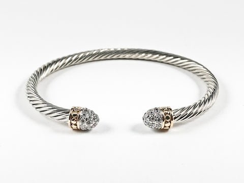 Modern Wire Band With Micro CZ Duo Ends Design Brass Cuff Bangle